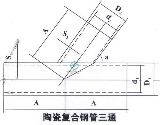 陶瓷复合管三通平面图展示